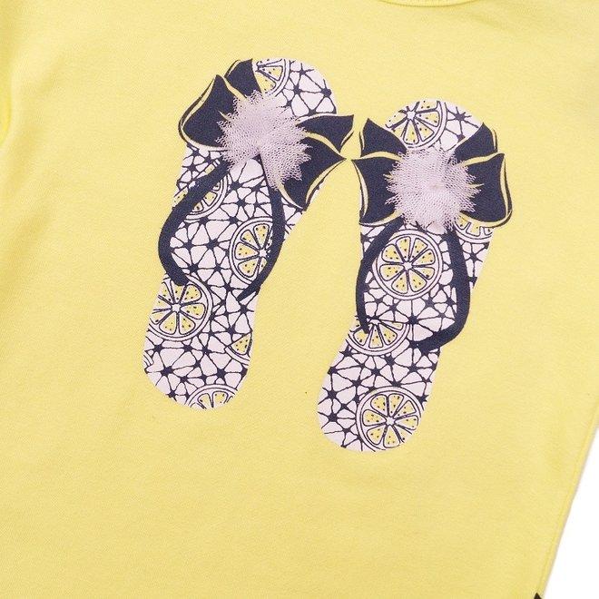 Dirkje girls T-shirt yellow slippers