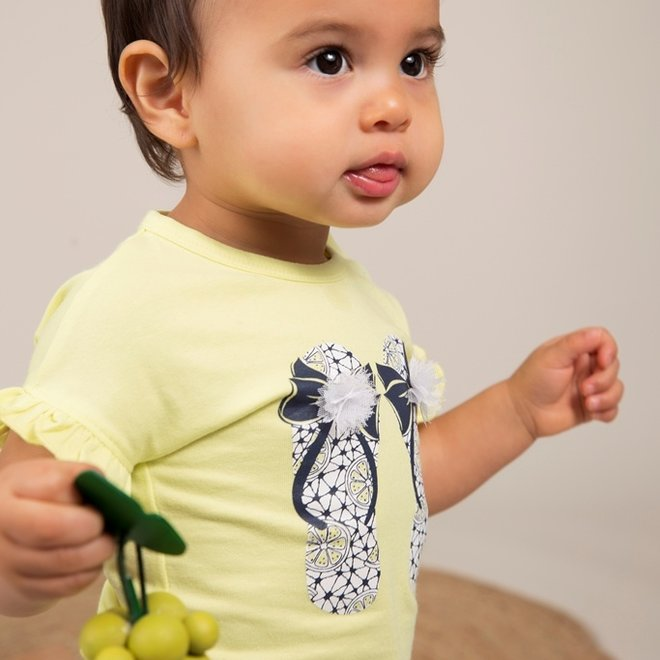 Dirkje meisjes T-shirt geel slippers