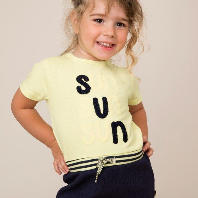 Dirkje meisjes jurk geel blauw sun
