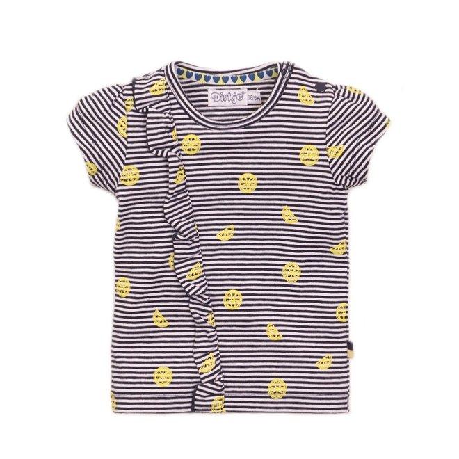 Dirkje Mädchen-T-Shirt blau-weiß gestreift