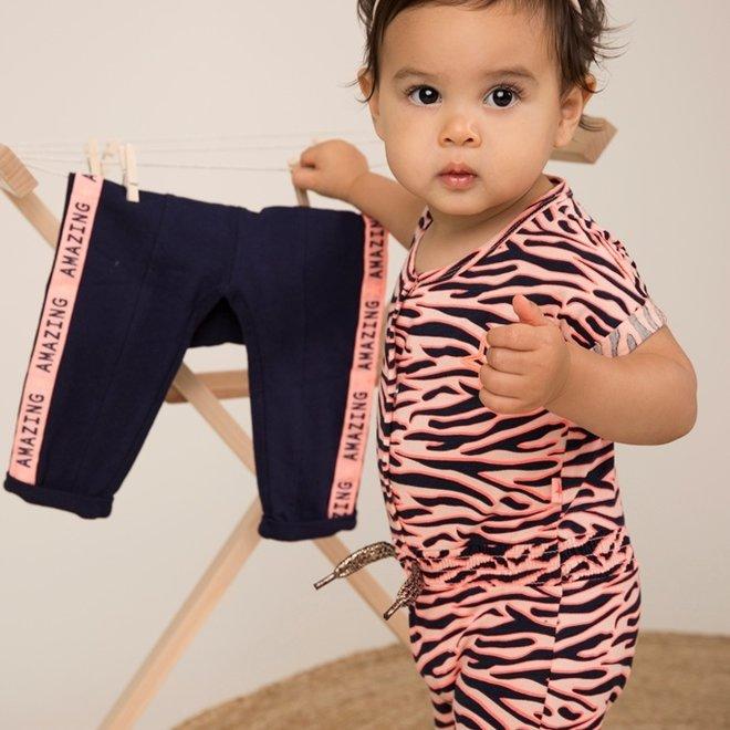 Dirkje meisjes jumpsuit roze tijgerstreep
