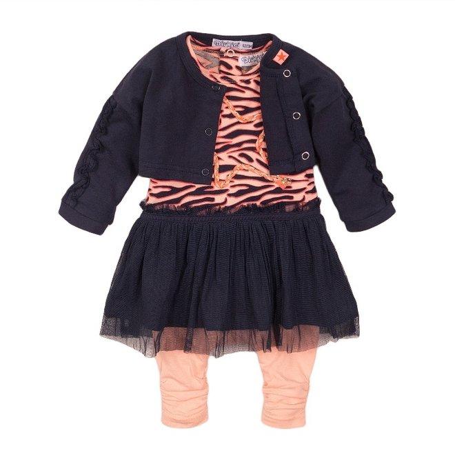 Dirkje Mädchen Baby 3-teiliges Set mit Kleid blau rosa