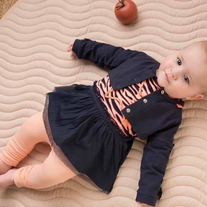 Dirkje meisjes baby 3-delige set met jurk blauw roze