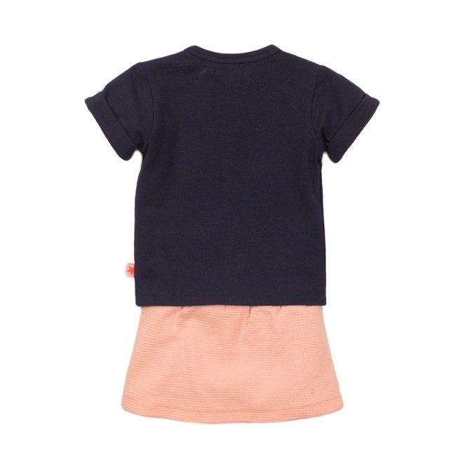 Dirkje meisjes baby 2-delige set met rok blauw roze