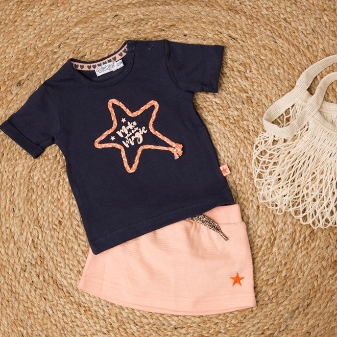 Dirkje girls baby 2-piece set with skirt blue pink