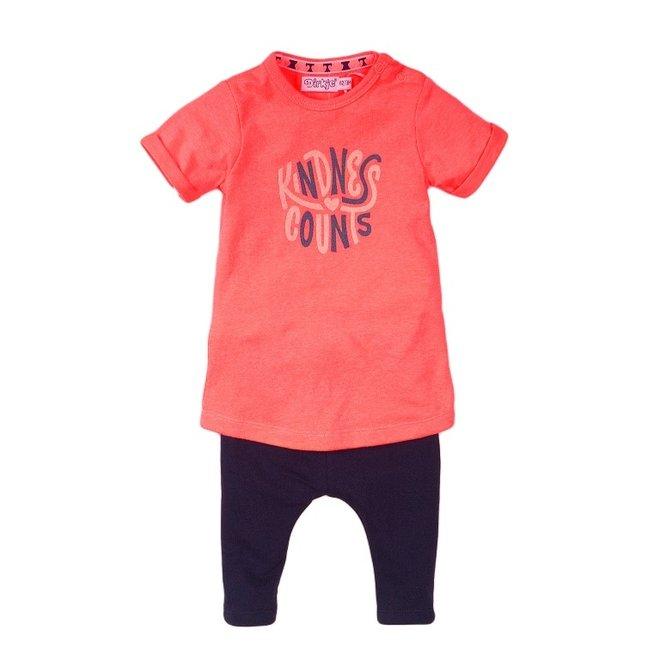 Dirkje Mädchen Baby 2-teiliges Set mit Kleid neon pink