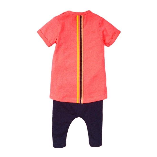 Dirkje girls baby 2-piece set with dress neon pink