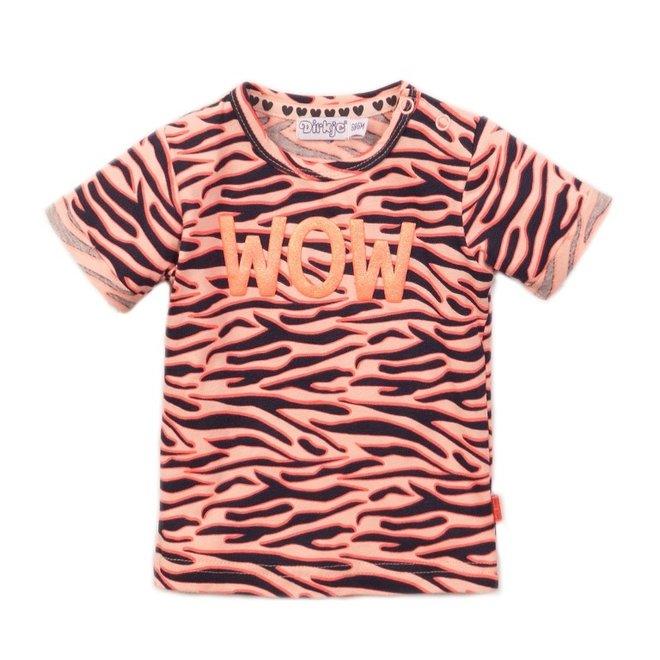 Dirkje meisjes T-shirt roze tijgerstreep