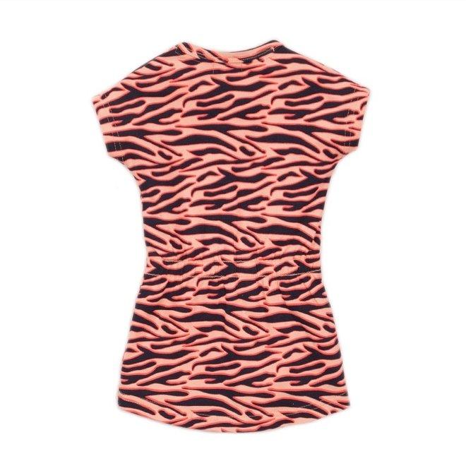 Dirkje Mädchen Kleid rosa Tigerstreifen