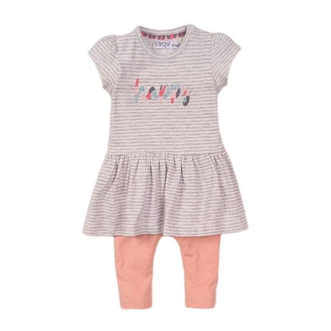 Dirkje meisjes baby 2-delige set met jurkje grijs wit