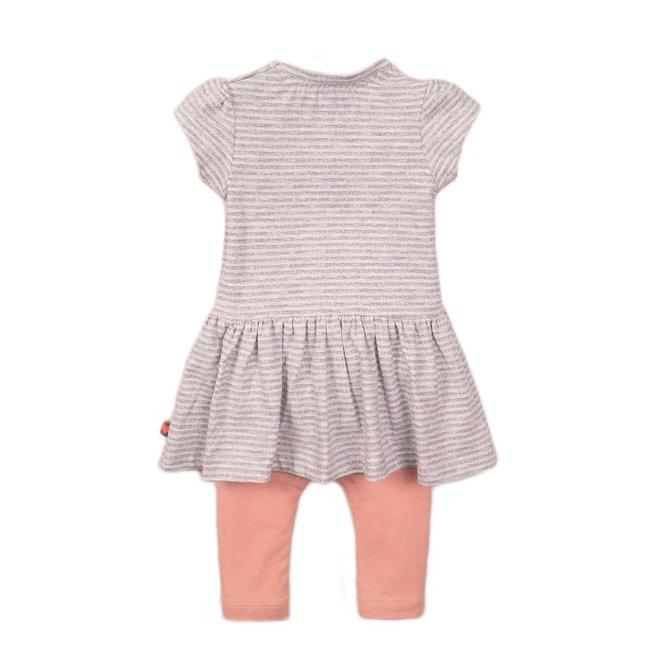 Dirkje Mädchen Baby 2 Stück Set Kleid grau weiß
