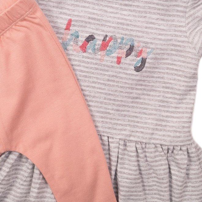 Dirkje girls baby 2-piece set dress grey white