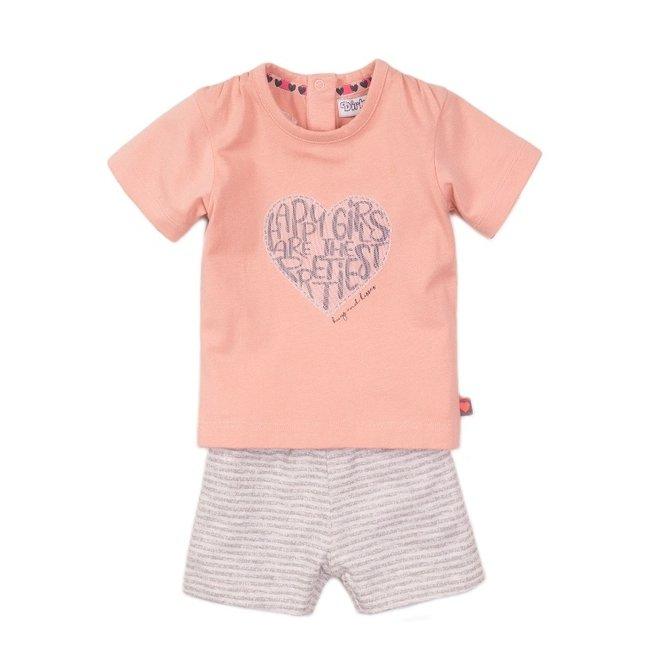 Dirkje meisjes baby 2-delige set met short roze grijs