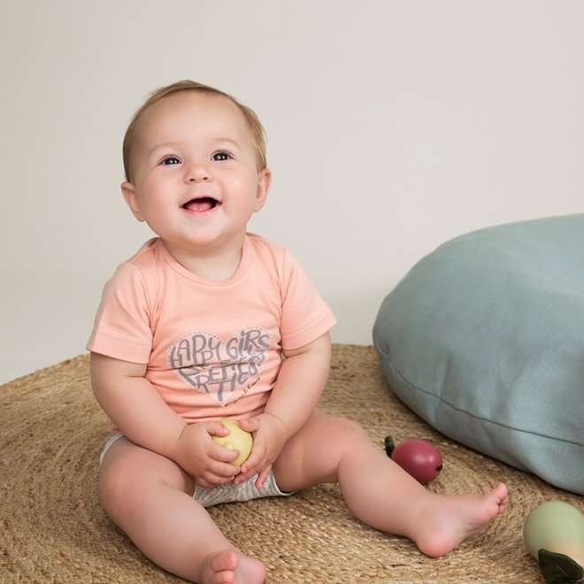Dirkje girls baby 2-piece set with shorts pink grey