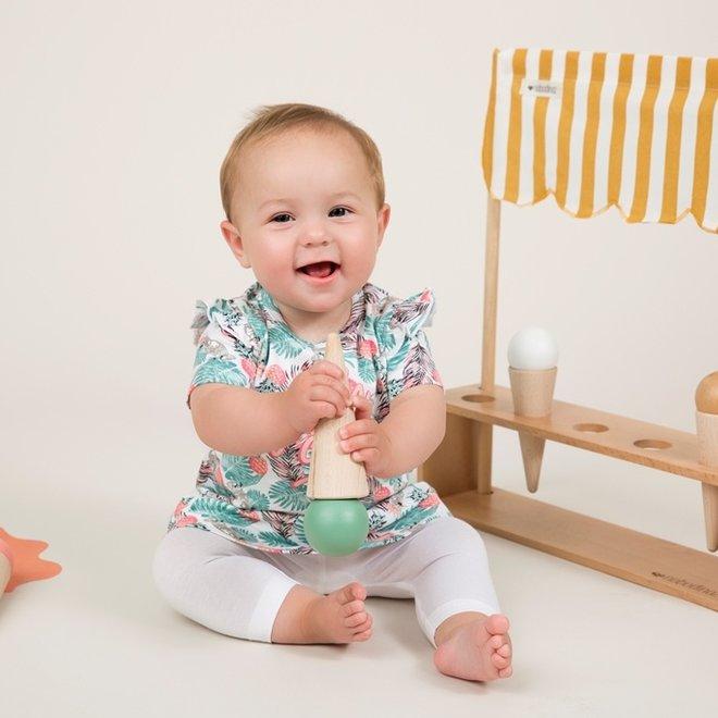 Dirkje Mädchen Baby 2 Stück Set mit Kleid weiß Kakadu