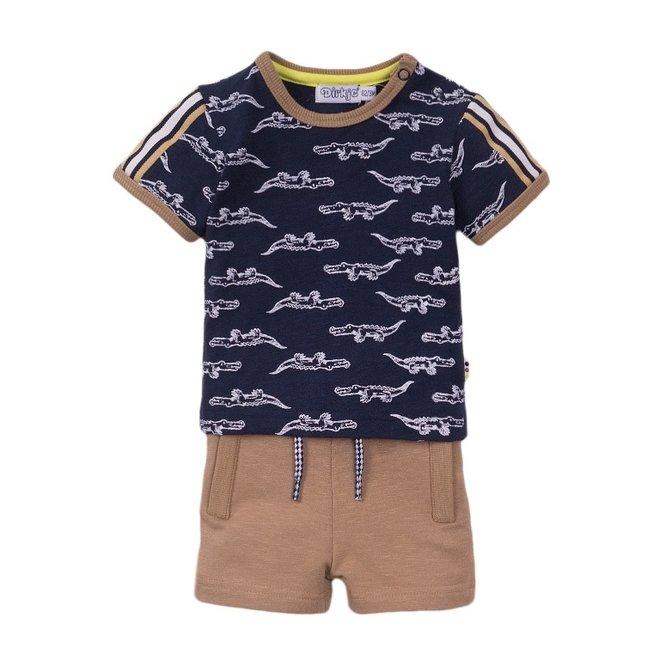 Dirkje boys baby 2 piece set with shorts blue crocodile