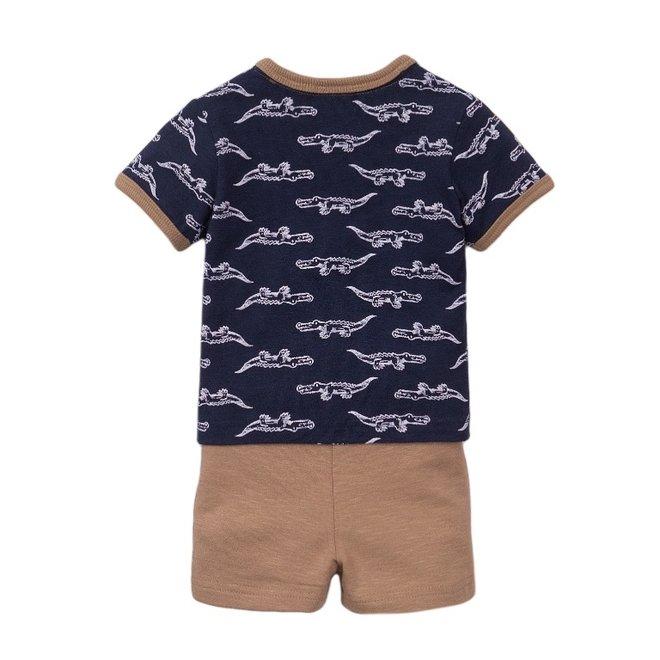 Dirkje Jungen Baby 2 Stück Set mit Shorts blau Krokodil