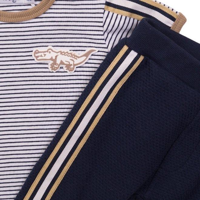 Dirkje boys baby 2 piece set with trousers white blue