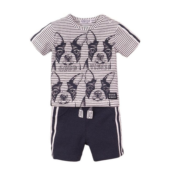 Dirkje Jungen Baby 2 Stück Set mit Shorts weiß blau