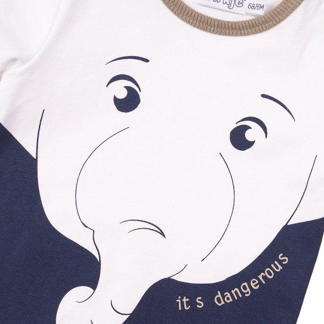 Dirkje jongens T-shirt wit olifant