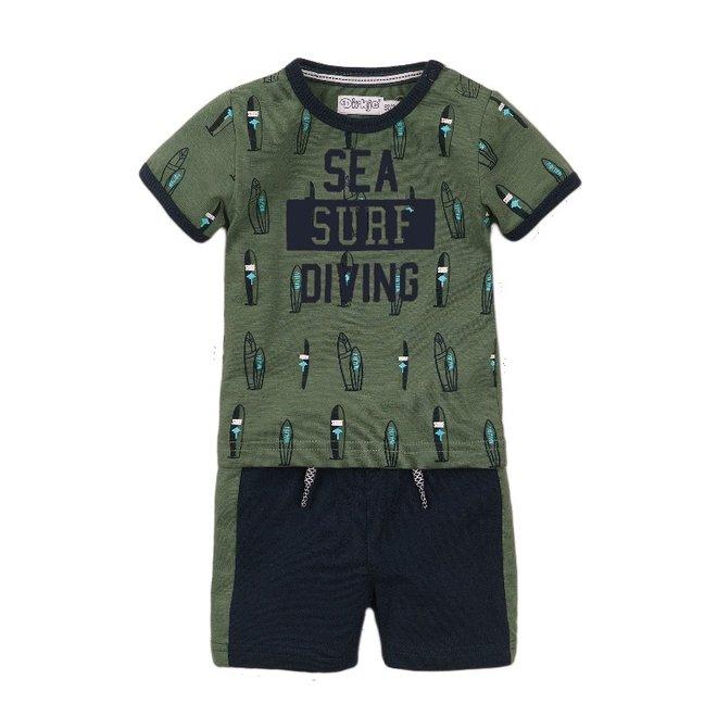 Dirkje boys baby 2-piece set with shorts faded green