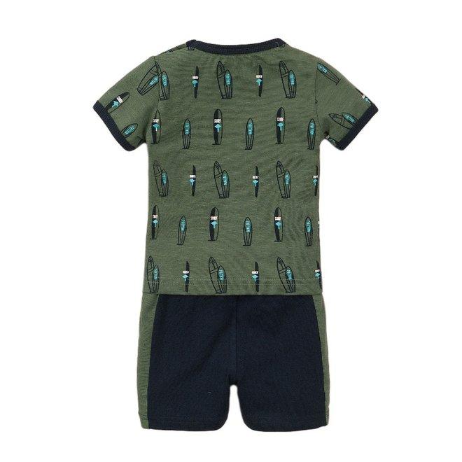 Dirkje Jungen Baby 2 Stück Set mit Shorts verblasst grün