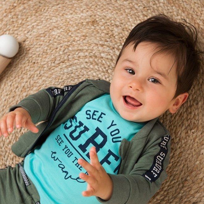 Dirkje Jungen Baby 3-teiliges Set verblasst grün aqua