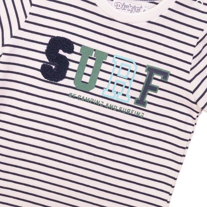 Dirkje jongens T-shirt wit streep 'Surf'