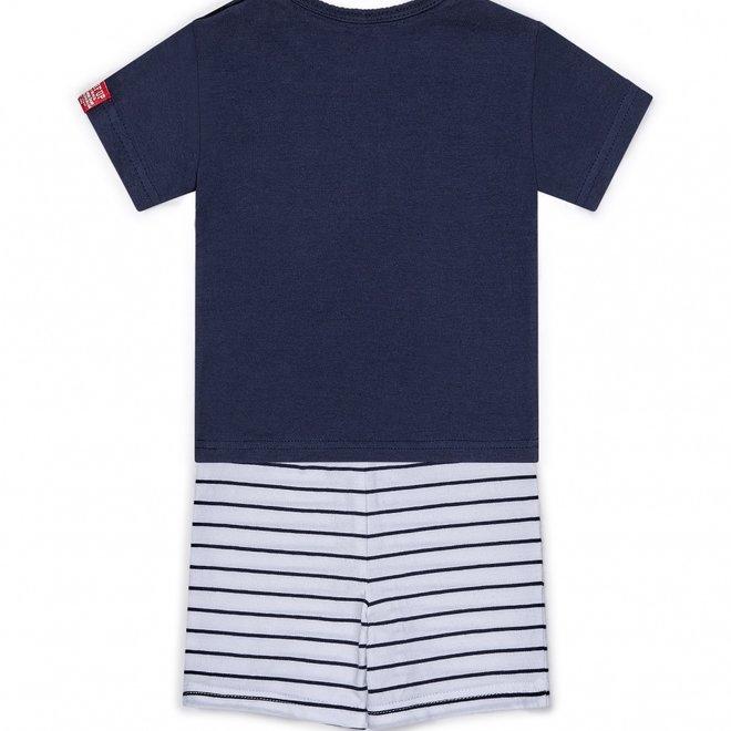 Dirkje boys baby 2 piece set with shorts blue white