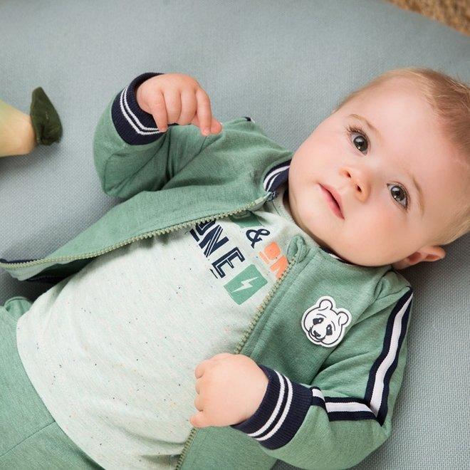 Dirkje jongens baby 3-delige set faded groen blauw