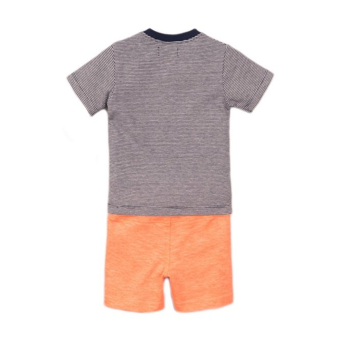 Dirkje boys baby 2 piece set with shorts neon coral