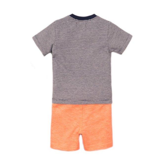 Dirkje jongens baby 2-delige set met short neon coral