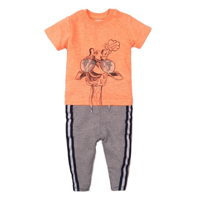 Dirkje boys baby 2 piece set with trousers neon coral