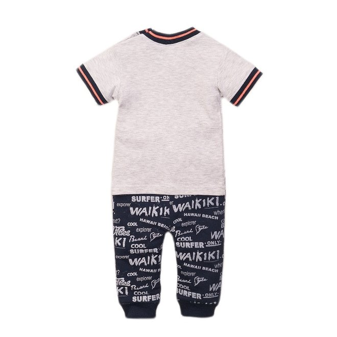 Dirkje boys baby 2 piece set with trousers grey blue
