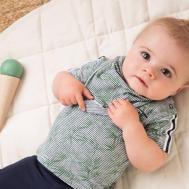 Dirkje Jungen Baby 2 Stück Set mit Hose weiß blau