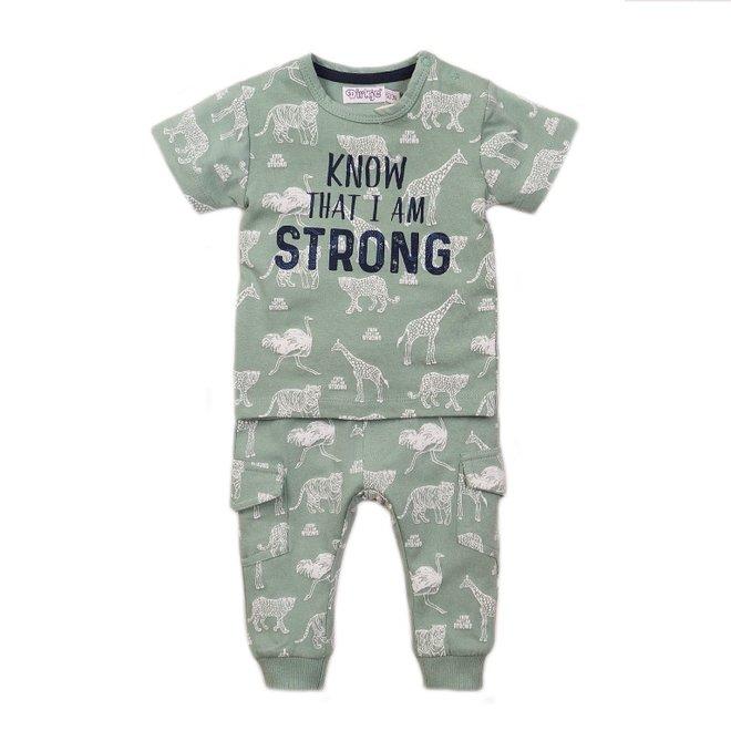 Dirkje jongens baby 2-delige set met broek sage groen