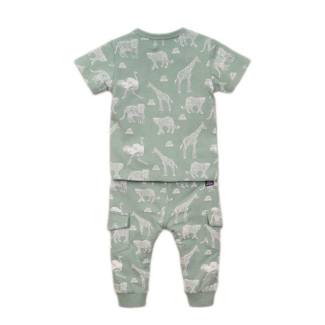 Dirkje boys baby 2 piece set with trousers sage green