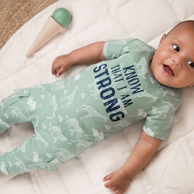 Dirkje Jungen Baby 2 Stück Set mit Hose Salbei grün