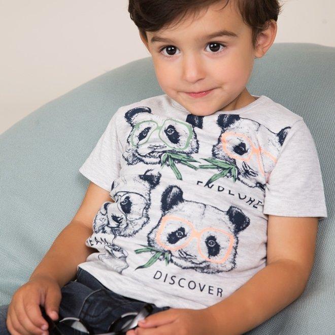 Dirkje boys T-shirt light grey panda