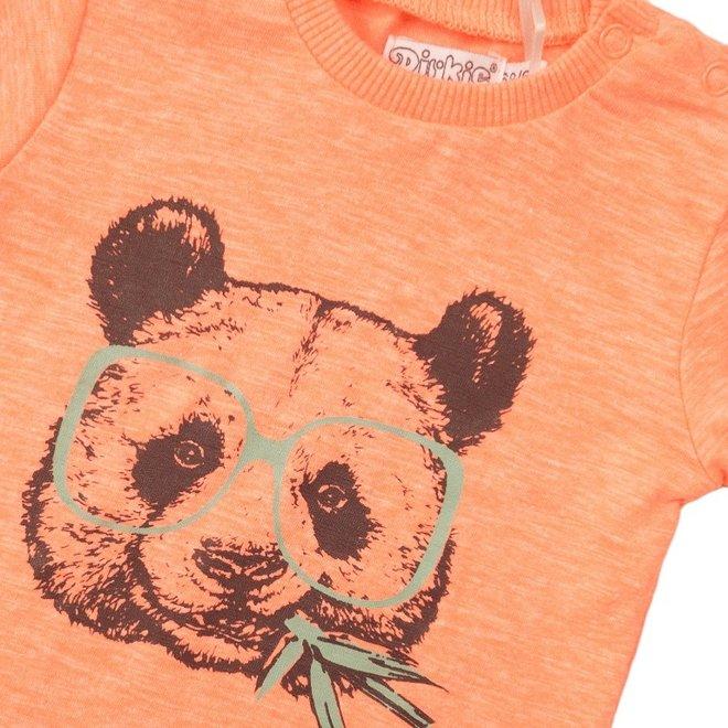 Dirkje jongens T-shirt neon coral panda