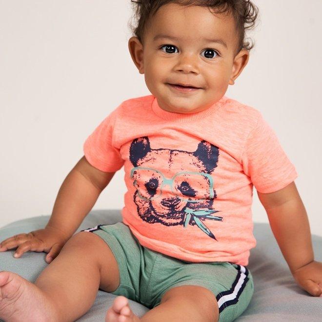 Dirkje Jungen Neon Koralle Panda T-shirt