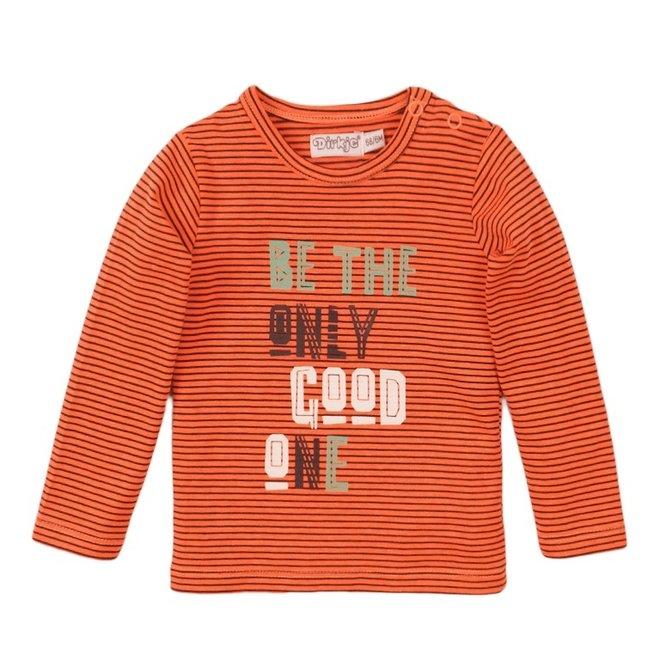 Dirkje boys shirt neon coral stripe