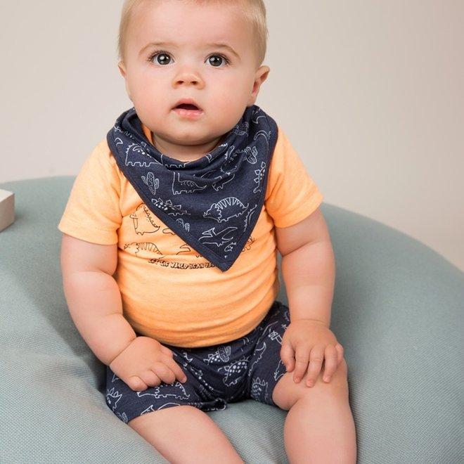 Dirkje boys baby 2 piece set with shorts orange