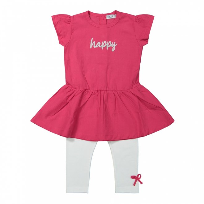 Dirkje girls dress 2-piece dark pink and white
