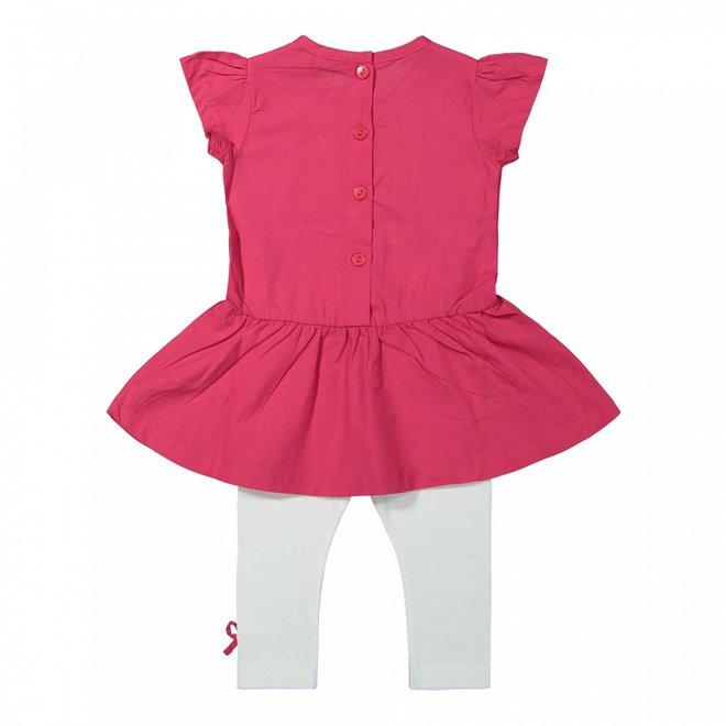 Dirkje Mädchen Kleid 2-teilig dunkelrosa und weiß