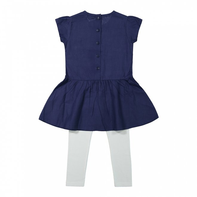 Dirkje girls dress 2-piece navy and white