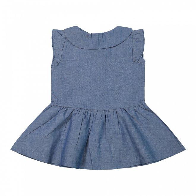 Dirkje Mädchen Baby Kleid Jeans blau