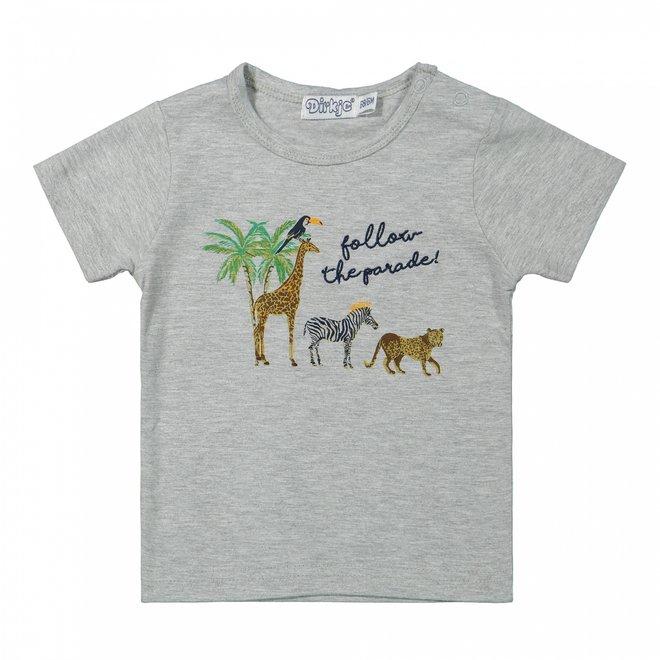 Dirkje Jungen Baby-T-Shirt grau wilde Tiere