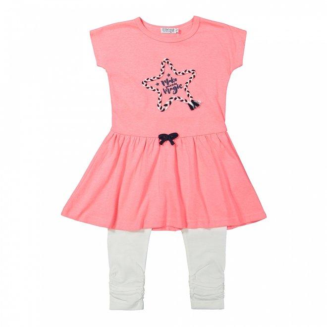 Dirkje meisjes jurkje 2-delig neon roze en wit