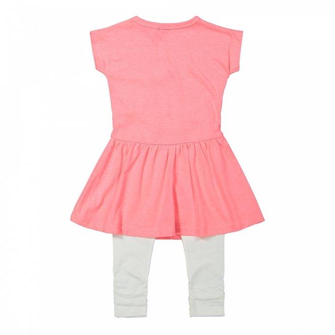 Dirkje girls dress 2-piece neon pink and white